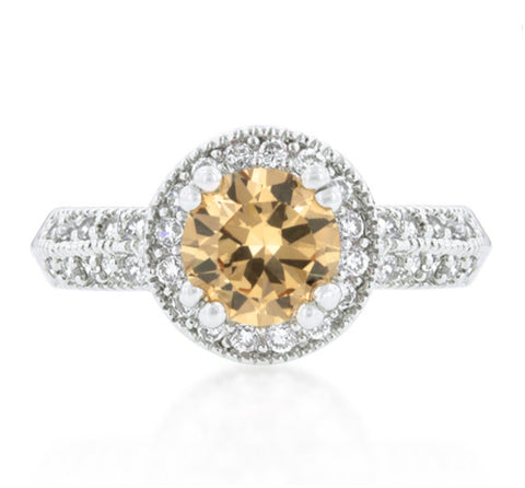 Orene Champagne Round Halo Engagement Ring | 3ct | Cubic Zirconia - Beloved Sparkles  - 3