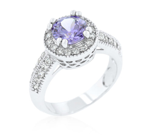 Orene Lt Amethyst Round Halo Engagement Ring | 4ct | Cubic Zirconia - Beloved Sparkles  - 2