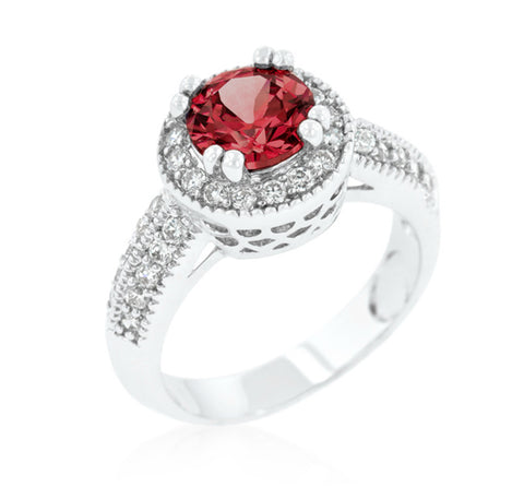 Orene Ruby Round Halo Engagement Ring | 3ct | Cubic Zirconia - Beloved Sparkles  - 2