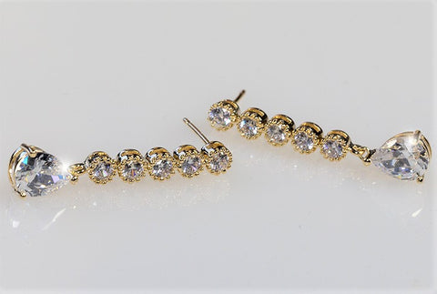 Paige Pear Drop Linear Gold Earrings | 4.5ct | Cubic Zirconia | Gold