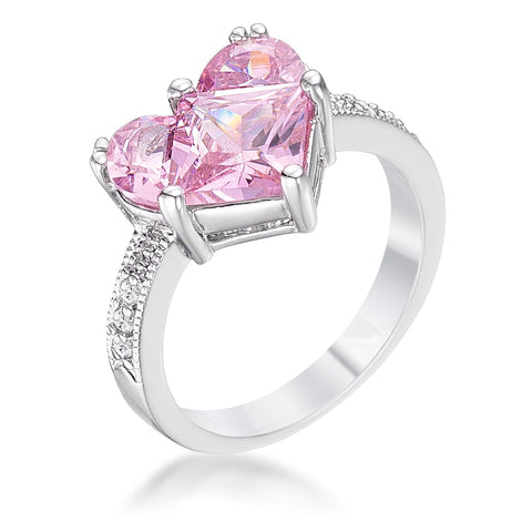 Palila Pink Sweetheart Cocktail Ring | 2.5ct  | Cubic Zirconia | Silver