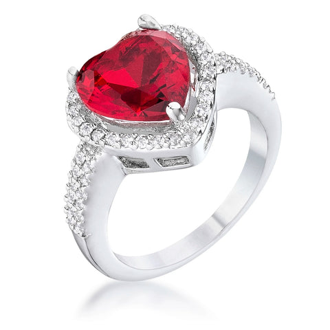 Panna 5.5ct Ruby Heart Solitaire Engagement Ring | 6.8ct