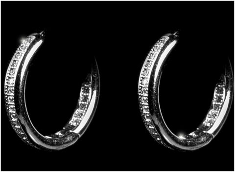 Panola CZ Inside-Out Silver Huggie Hoop Earrings