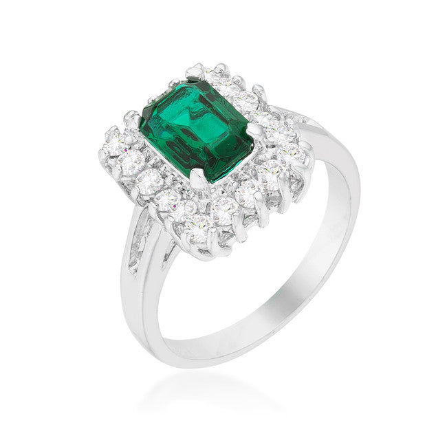 Papina Emerald Green Vintage Inspired Halo Cocktail Ring  | 3ct | Cubic Zirconia - Beloved Sparkles  - 1
