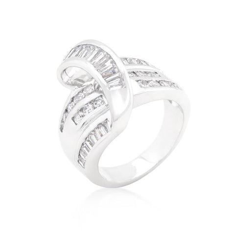 Pat Baguette Channel Set Overlap Ring | 3ct | Cubic Zirconia - Beloved Sparkles  - 1