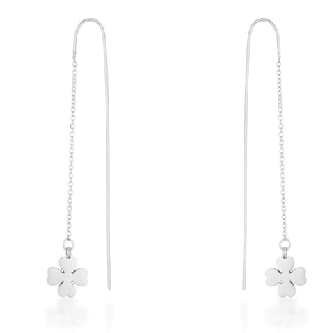 Patricia Clover Threaded Drop Earrings | Stainless Steel