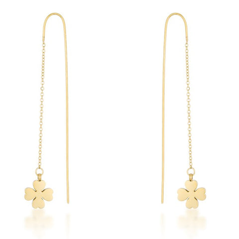 Patricia Gold Clover Threaded Drop Earrings | Stainless Steel