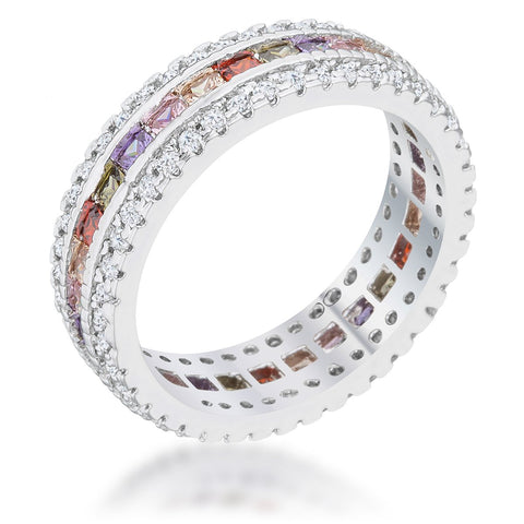 Paula Multicolor CZ Eternity Band Ring