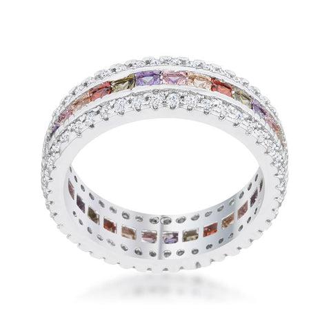 Paula Multicolor CZ Eternity Band Ring | 5.5ct