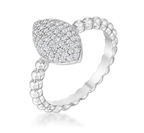 Pausha Beautiful Oval-Designed Rhodium CZ Ring | 0.5ct | Cubic Zirconia | Silver