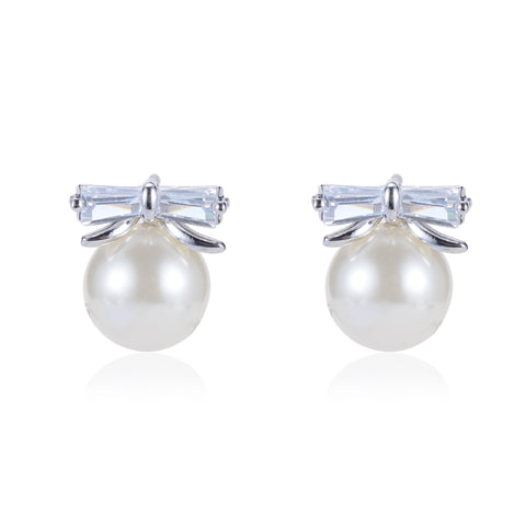 Pelia CZ Bow Knot Pearl Stud Earrings