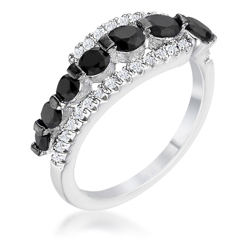 Stacy Graduated Black CZ Hematite Silver Ring | 1.5ct