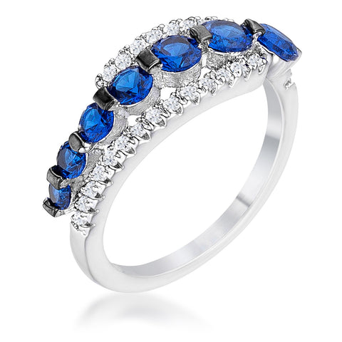 Stacy Graduated Sapphire CZ Hematite Silver Ring | 1.5ct