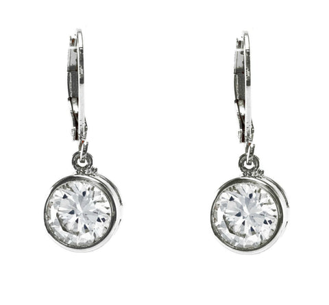 Perel Round CZ Drop Earrings | Cubic Zirconia | Silver