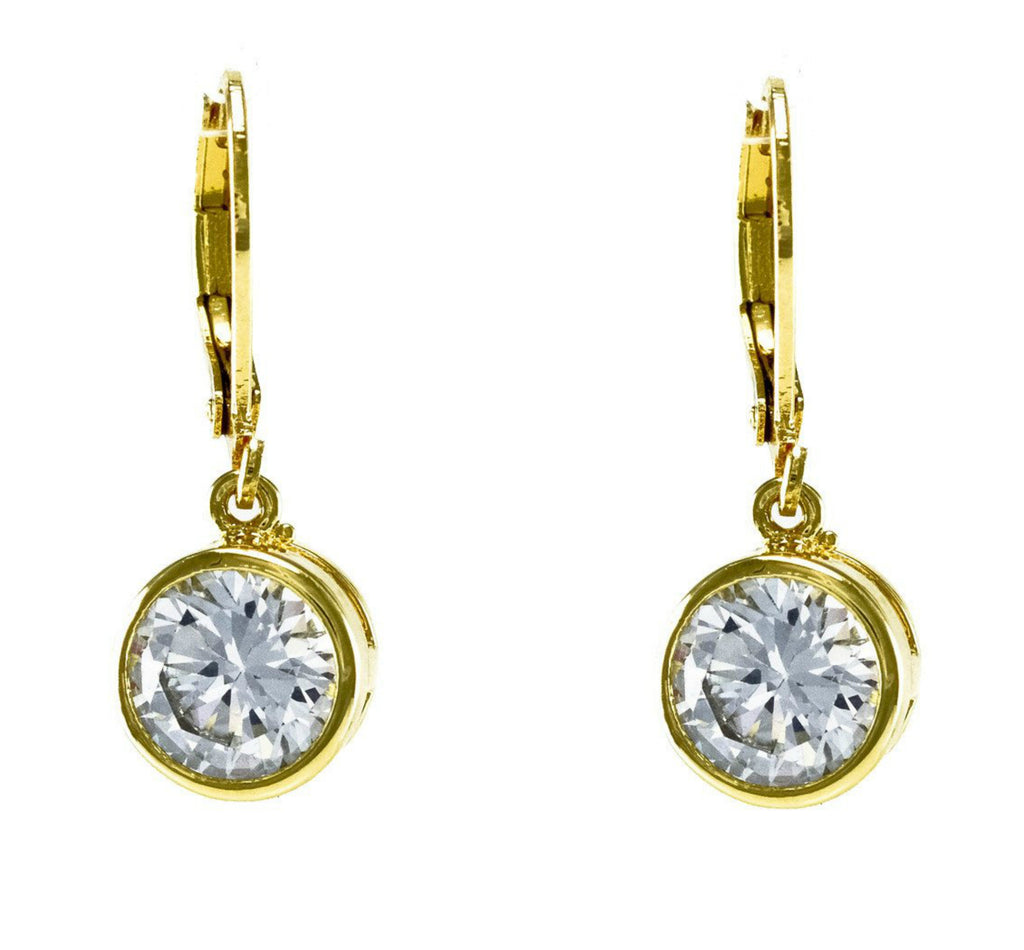 Perel Round CZ Drop Earrings | Cubic Zirconia | Gold
