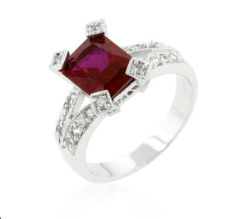 Petrine Radiant Cut Ruby Fashion Ring  | 5.5ct | Cubic Zirconia - Beloved Sparkles  - 1
