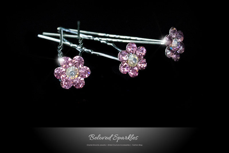 Stella-1 Pink Flower Hair Stick Pin | Rhinestone - Beloved Sparkles