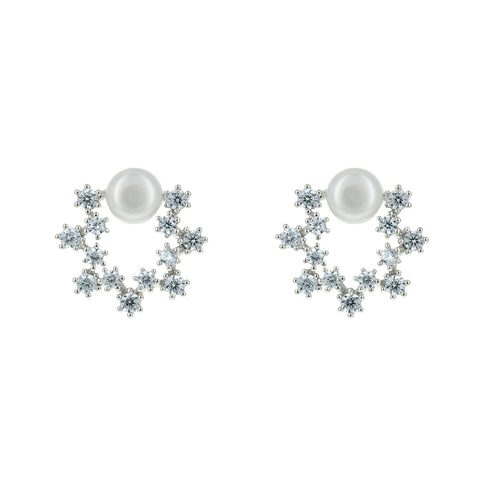 Posy CZ Mini Pearl Dainty Stud Earrings
