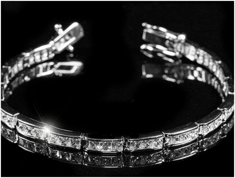 Paula Princess Cut Baguette Tennis Bracelet - 7.25in | 11ct