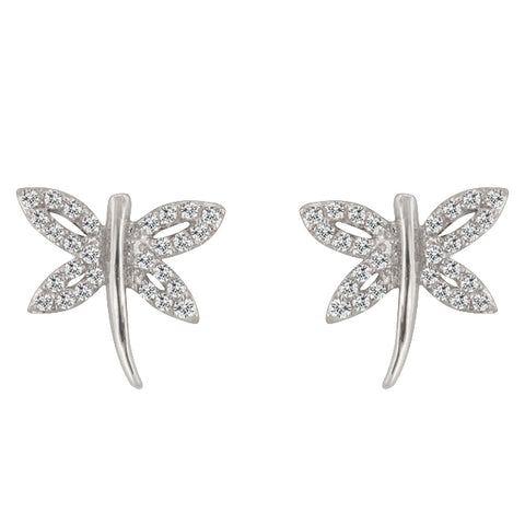 Quin CZ Dragonfly Stud Earrings