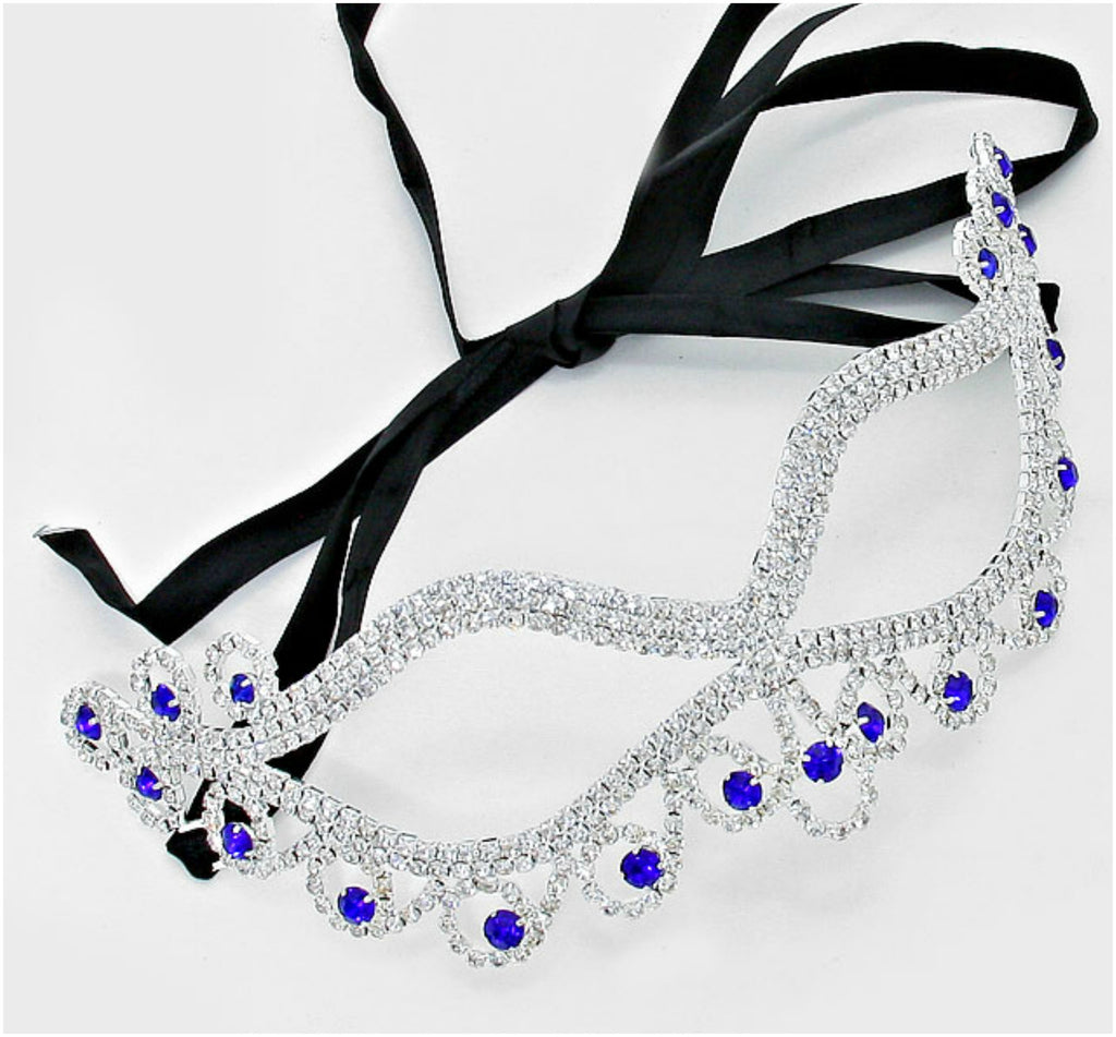 Bahati Swirl Filigree Cat Eye Sapphire Blue Masquerade Mask | Silver | Crystal - Beloved Sparkles  - 1