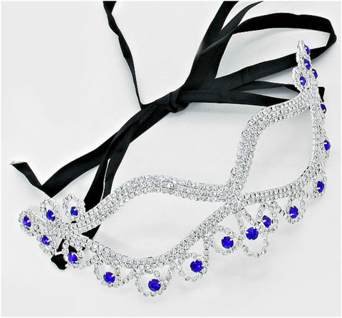 Bahati Swirl Filigree Cat Eye Sapphire Blue Masquerade Mask | Crystal | Silver