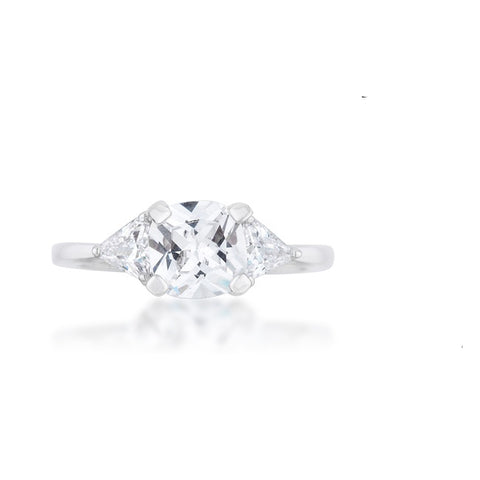 Shonda Three Stone Clear Cushion Cut Engagement Ring | 2ct | Cubic Zirconia - Beloved Sparkles  - 3