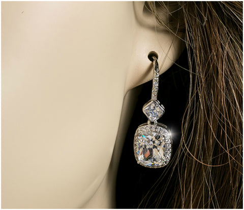Raven Radiant Cut Halo Drop Dangle Earrings | 6ct | Cubic Zirconia | Silver