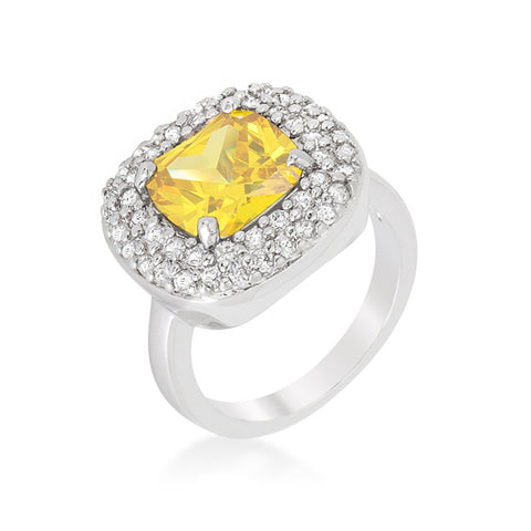 Regina Canary Yellow Cushion Cut Cocktail Ring | 5 Carat | Cubic Zirconia - Beloved Sparkles  - 2