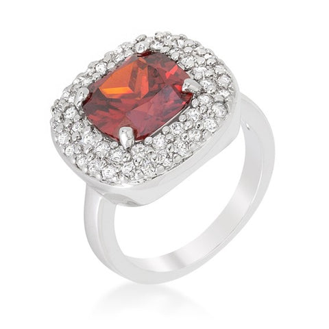 Regina Garnet Red Cushion Cut Cocktail Ring | 5 Carat | Cubic Zirconia - Beloved Sparkles  - 2