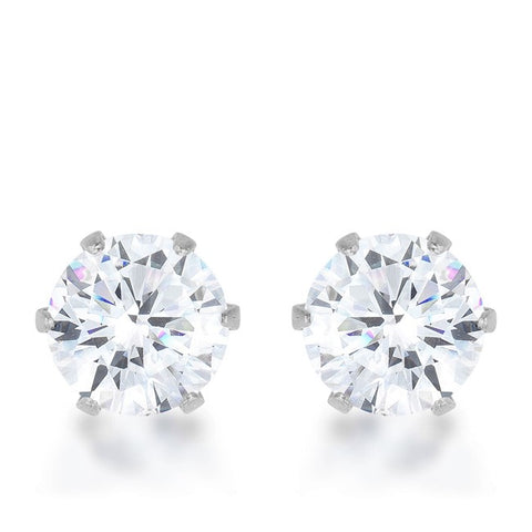 Reign Clear Round Cut Stud Earrings – 6mm | 1ct | Stainless Steel