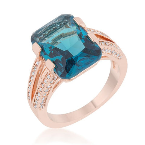 Rema Aqua Blue Emerald Statement Cocktail Ring | 8.6 Carat | Cubic Zirconia - Beloved Sparkles  - 1