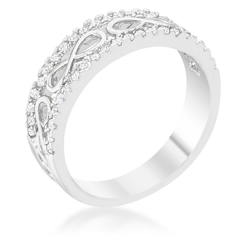 Rema CZ Rhodium Contemporary Infinity Band Ring | 1ct | Cubic Zirconia - Beloved Sparkles  - 2