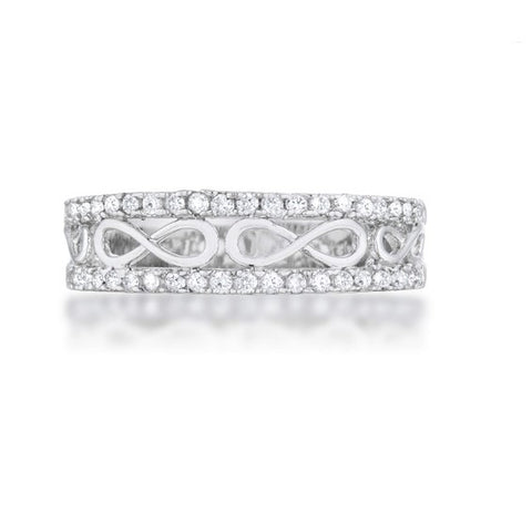 Rema CZ Rhodium Contemporary Infinity Band Ring | 1ct | Cubic Zirconia - Beloved Sparkles  - 3