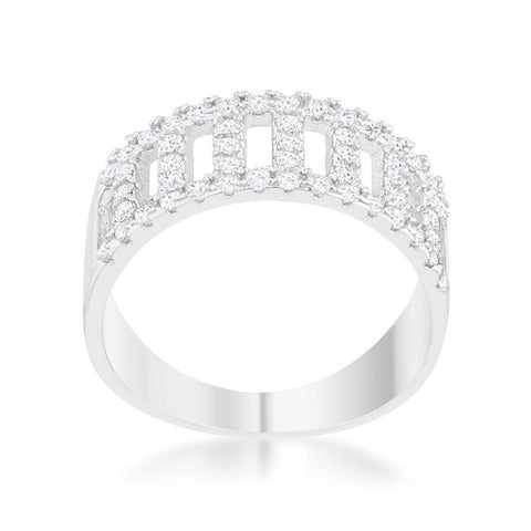 Rey CZ Rhodium Contemporary Band Ring | 1ct | Cubic Zirconia - Beloved Sparkles  - 1