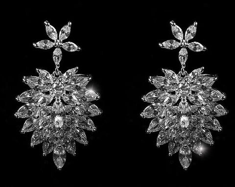 Rhiana Marquise Cluster Statement Chandelier Earring | 8ct | Cubic Zirconia | Silver