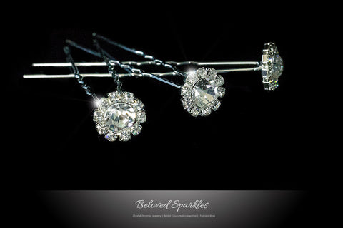 Lydia-1 Clear Diamond Halo Hair Stick Pin | Rhinestone