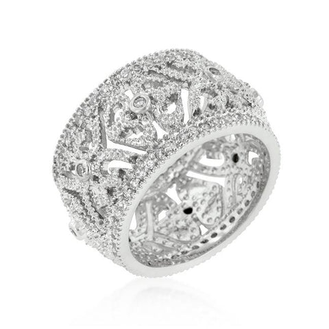 Rhoda Filigree Crest Eternity Wie Band Ring | 3ct | Cubic Zirconia
