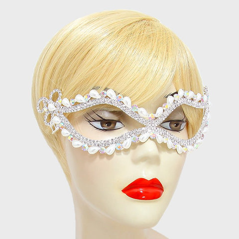 Ricada Pearl Cluster Masquerade Mask | Crystal | Silver