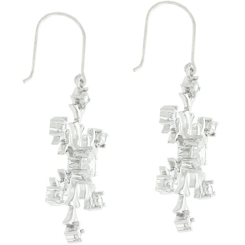 Rilla Silver Snowflake CZ Dangle Earrings
