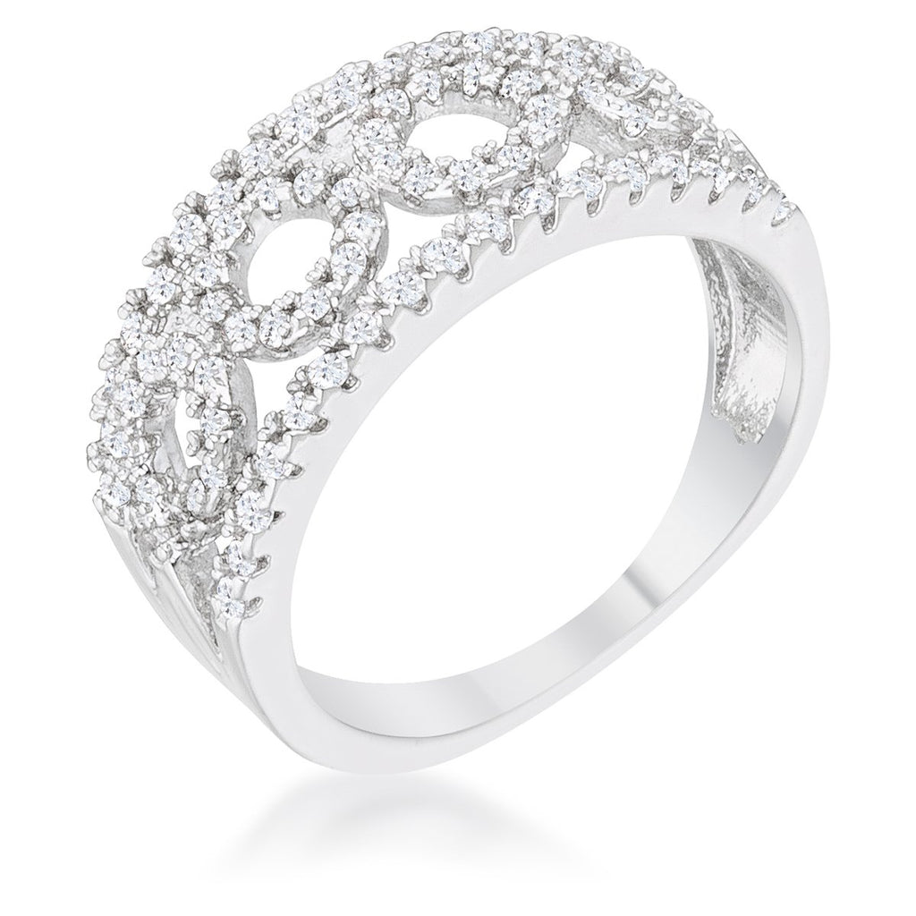 Riana CZ Rhodium Contemporary Band Ring | 1.5ct | Cubic Zirconia - Beloved Sparkles  - 1