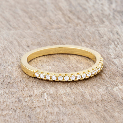 Rina Delicate CZ 18k Goldtone Band Ring | 03ct
