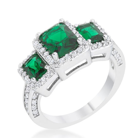 Rita Three Stone Emerald Radiant Cut Cocktail Ring | 5 Carat | Cubic Zirconia - Beloved Sparkles  - 3