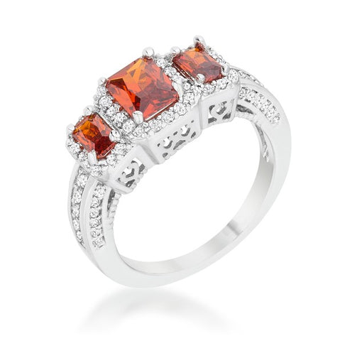 Rita Three Stone Garnet Red Radiant Cut Cocktail Ring | 5 Carat | Cubic Zirconia - Beloved Sparkles  - 2