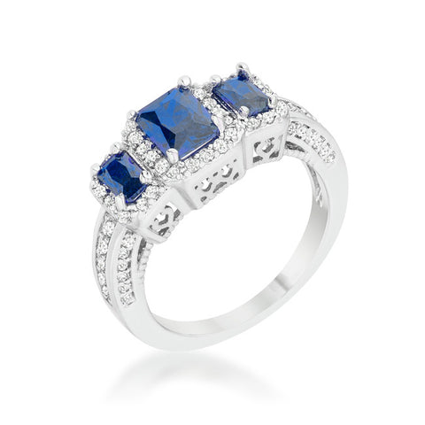 Rita Three Stone Sapphire Blue Radiant Cut Cocktail Ring | 5 Carat | Cubic Zirconia - Beloved Sparkles  - 2