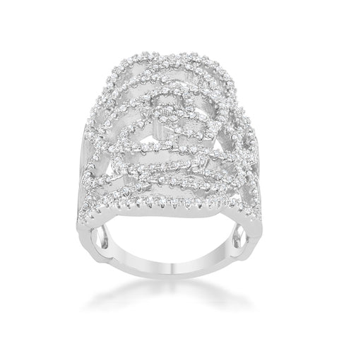 Rosa Filigree CZ Rhodium Cocktail Ring | 5ct | Cubic Zirconia - Beloved Sparkles  - 1