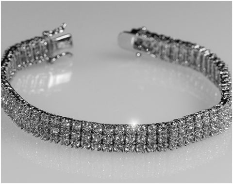 Olivia Three Rows Round Tennis Bracelet - 7in