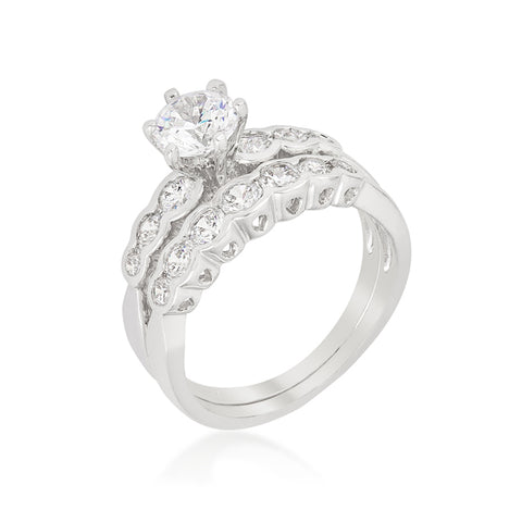 Melia Round Cut Engagement and Wedding Ring Set | 3ct | Cubic Zirconia | Silver - Beloved Sparkles