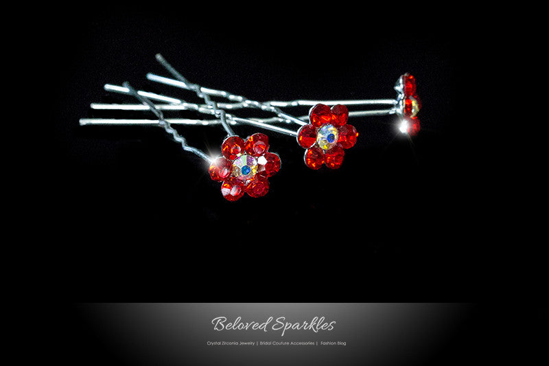 Stella-1 Ruby Red Flower Hair Stick Pin | Rhinestone - Beloved Sparkles