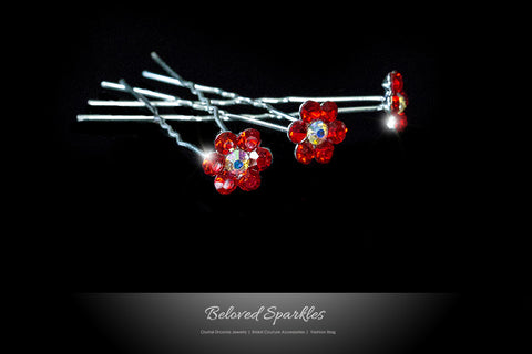 Stella-1 Ruby Red Flower Hair Stick Pin | Rhinestone